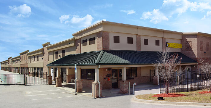 self storage facility with brick facade and architectural elements