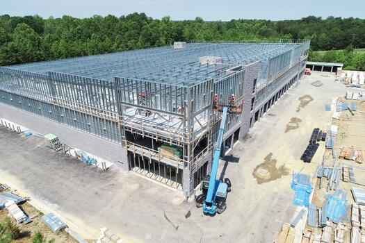 self storage facility being constructed