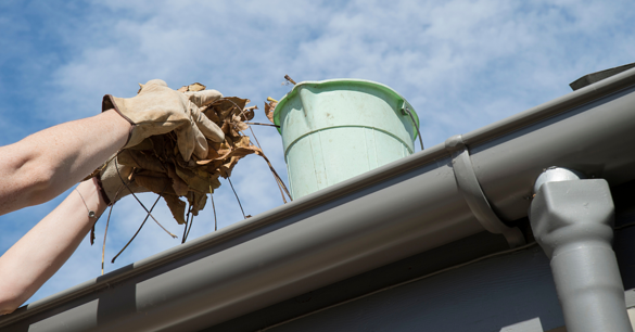 removing leaves from gutters